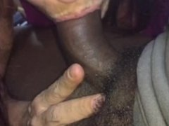 Lady sucks black cock and swallow