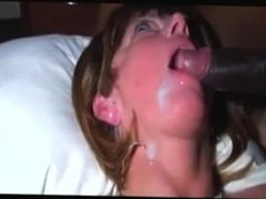 Mature hotwife from Adultlovedating.COM eating a thick load of BBC cum