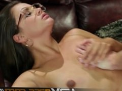HDVPass Cute Nerdy Allie Haze Gets Pounded on the Couch