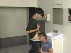 Twink is Caught Looking at Cock in School Bathroom