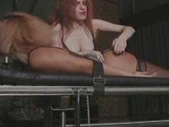 Tied blonde gets her big ass spanked hard