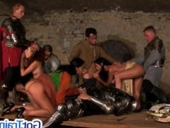 Hot group orgy at the castle dinner