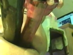 Double Anal 2 huge dildos deep in my asshole very nice