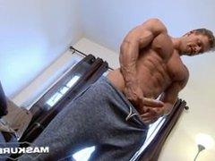 Hot muscle man jerks off