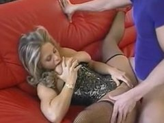 Hot milf with mouth full of cum