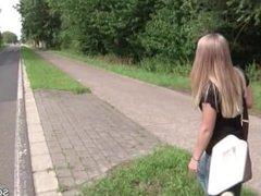 German Skinny Street Hooker get fuck Outside without Condom