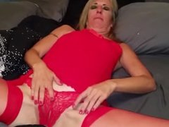 Wendi from 1fuckdate.com - Milf in red masturbating and sucki