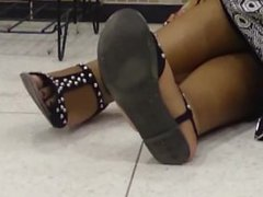 Candid Ebony Feet in Sandals Part 1