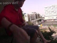 Guy shoots amazing load off a balcony