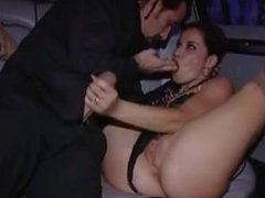 Anal threesome in limo