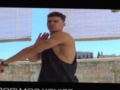 teen muscle god seen on balcony jerking off