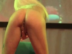 Amazing blonde babe gets horny on the stage