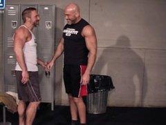 Muscle Stud Gym Daddies Fuck in Locker Room
