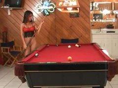 Playing pool in pantyhose