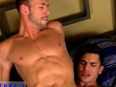 Muscular and naked brown haired guys After waking his lover with his