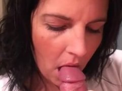 Brunette blowjob with cum in mouth