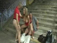 German mom and daughter public threesome