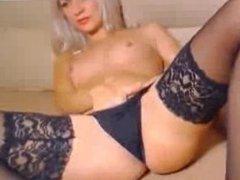 Amateur Blonde In Stockings Wets Her Pnaties