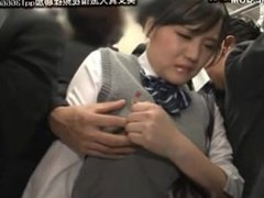 cute japanese schoolgirl seduced by geek in bus 16