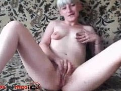Slender blond squeezes her small tits with large nipples and fingers pussy