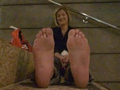 stinky huge blonde feet