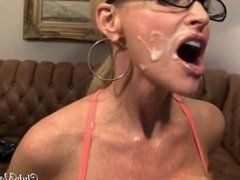 Busty Blonde Milf From SEXDATEMILF.COM getting cum all over her face and as