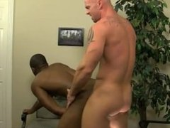 Shaved head gay porn emo JP gets down to service Mitch's hard man sausage