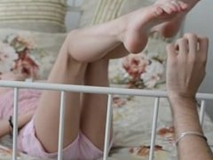 Blonde gets her feet tickled