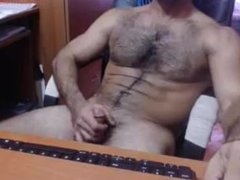 Hot hairy guy jerks and cums