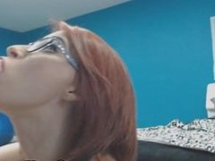 My Pretty Redhead Neighbor Sucks her Dildo like a Real Cock