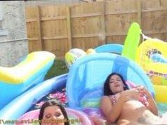 Angelina Castro & Miss Raquel Outdoors pool Masturbation!