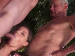 Two Grandpa Take On One Pussy