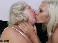 Fat granny fucked by skinny lesbian girl