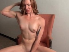 Sexy babe with muscle dildoing her wet pussy