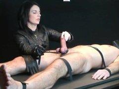Handjob in leather