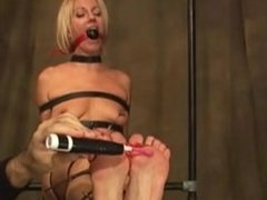 TheTickleChannel - Milf Mo Rina blonde bound gagged tickled with feather