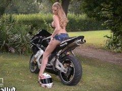 Danielle Maye Busty Blonde's Striptease And Pussy Fingering On Motorbike