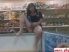 Ukrainian mature saleswoman outdoor public shop masturbation