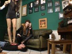 Goddess Victoria and friends nylon foot worship