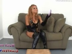 Blonde Giantess Toying With Tiny Man