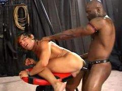 Hung black guy destroys white arse bareback