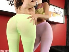 Busty lesbians Dava & Ava fuck at the strip club