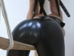 Amber Micheals Lashed in Latex - Sexy Latex Pants Armbinder and Tapegag