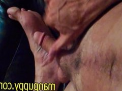 POV Cum On Feet - Manpuppy - DILF Male Foot Fetish Cumshot Kink Extreme Gay