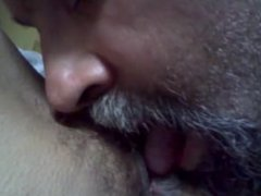 Licking wife's hairy pussy