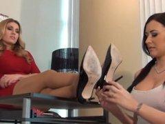 Girl feet licking in nylon