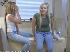 Two girls farting in the bathroom