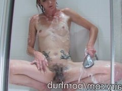Daisy washing her hairy pussy in the shower