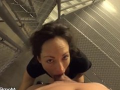 Swinger MILF From ADULTLOVEDATING.COM takes cock on public stair way
