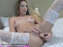 Hot babe in lace stockings quenches her sexual thirst  101cams.net/dya